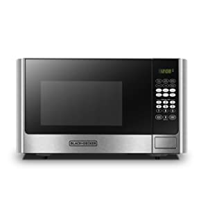 BLACK+DECKER EM925AB9 Digital Microwave Oven with Turntable Push-Button Door,Child Safety Lock,900W,0.9 cu.ft,Stainless Steel