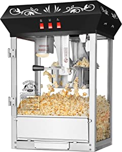 Superior Popcorn Company Old Time Countertop Style Popcorn Machine, 8 oz Stainless Steel Kettle, Black