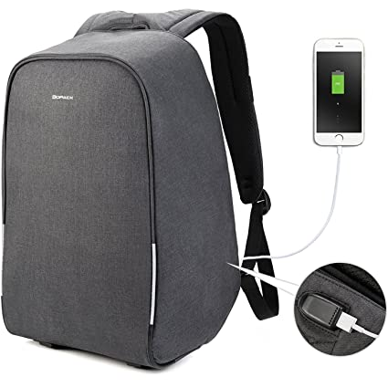 c79a59e56c Amazon.com  kopack 17 inch Anti Theft Laptop Backpack Waterproof Travel  Backpack Rain Cover USB Business Scan Smart  Computers   Accessories
