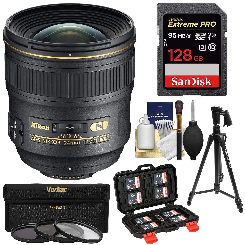Nikon 24mm f/1.4 G AF-S Nikkor レンズ 128GBカード+ 3 UV/CPL/ND8フィルター+三脚+キット   B07JDRKPJL