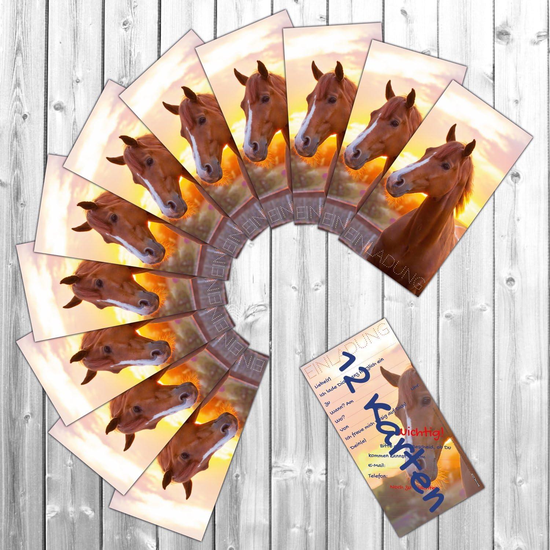 liebevoll gestaltete Einladungskarten zum Geburtstag f/ür M/ädchen Jungen Kindergeburtstag Party von BREITENWERK/® 24 St/ück XL-Set Pferd Einladungen