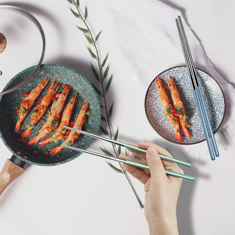 loopki Stainless Steel Reusable Chopsticks Set,Multicolor Reusable Chopsticks Stainless Steel Metal Chopsticks Set with Case,4 Pairs Chopsticks 4 Pairs Chopsticks-Silver