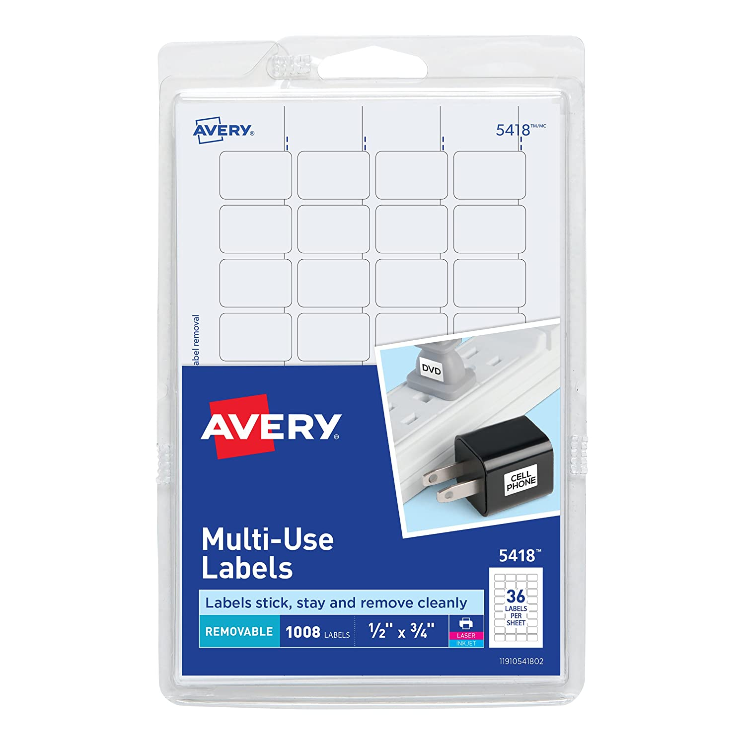 Amazon Avery Removable Print Or Write Labels White 05 X