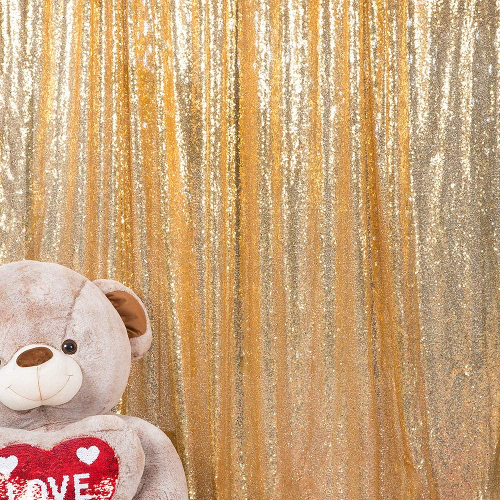 JYFLZQ Sequin Backdrop Curtain Photography Background Party Decor for Wedding Birthday Baby Shower (8 ft x 8 ft, Light Gold)