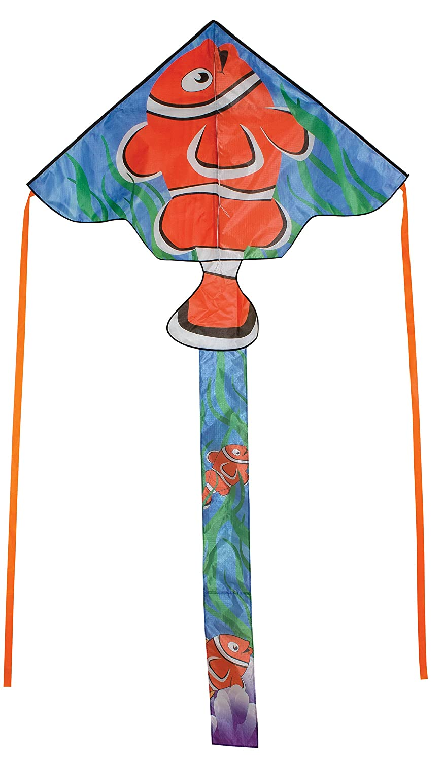 in The Breeze Clownfish 45 inch Fly-Hi Kite - Fish Theme Single Line Kite - Ripstop Fabric - Kite Line Bag Included 3229
