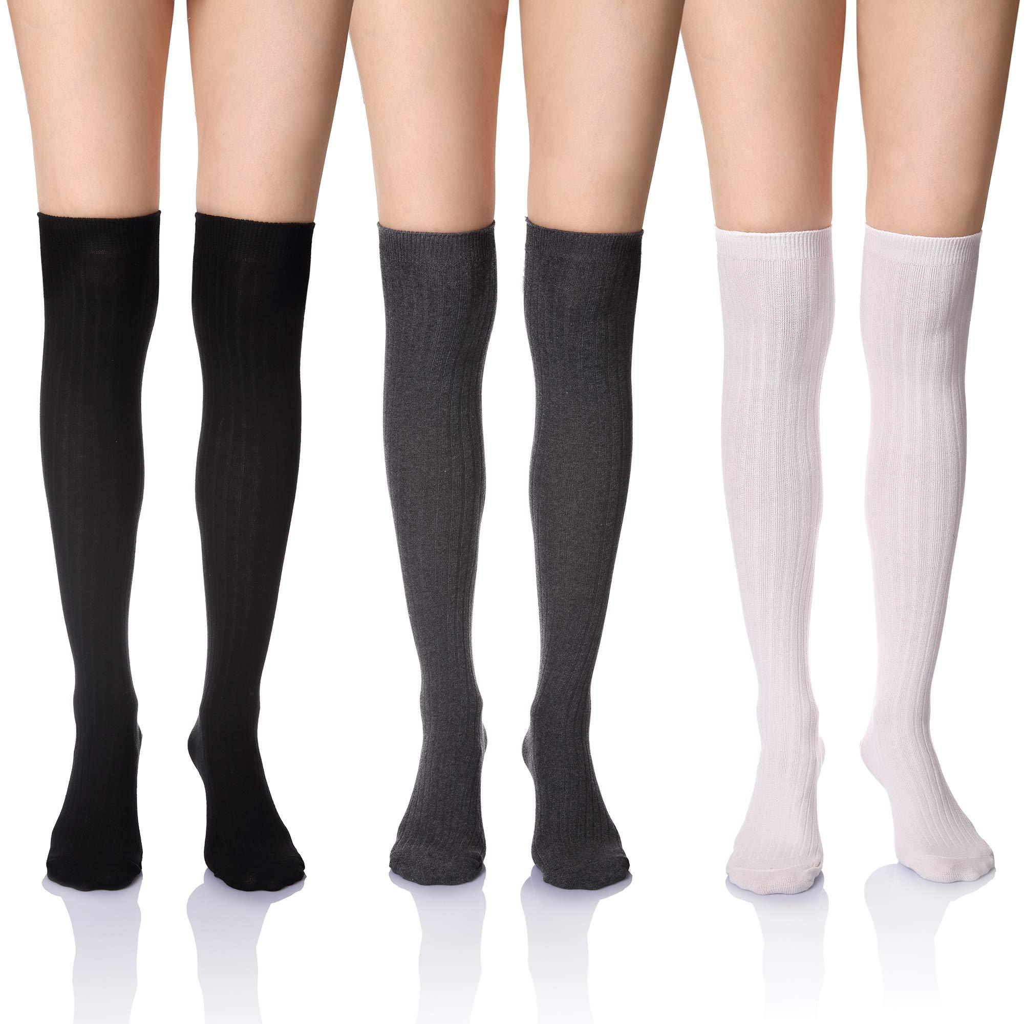 DoSmart Women's Girls Cotton Knee High Socks Winter Leg Warmth Socks (3 Pairs black/white/grey)