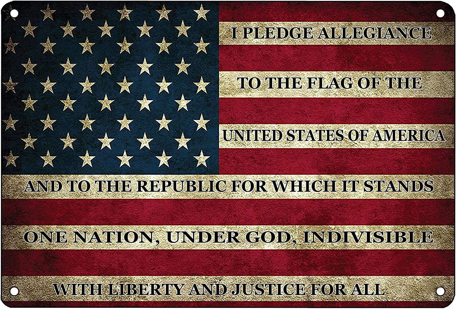 American Flag Metal Tin Sign US Pledge of Allegiance Wall Decor for Man Cave Bar and Wall Decoration