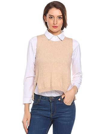 d55a6d3cca81 Zeagoo Women S Pullover Crew Neck Knit Petite Solid Sweater Vest for  Juniors Khaki S