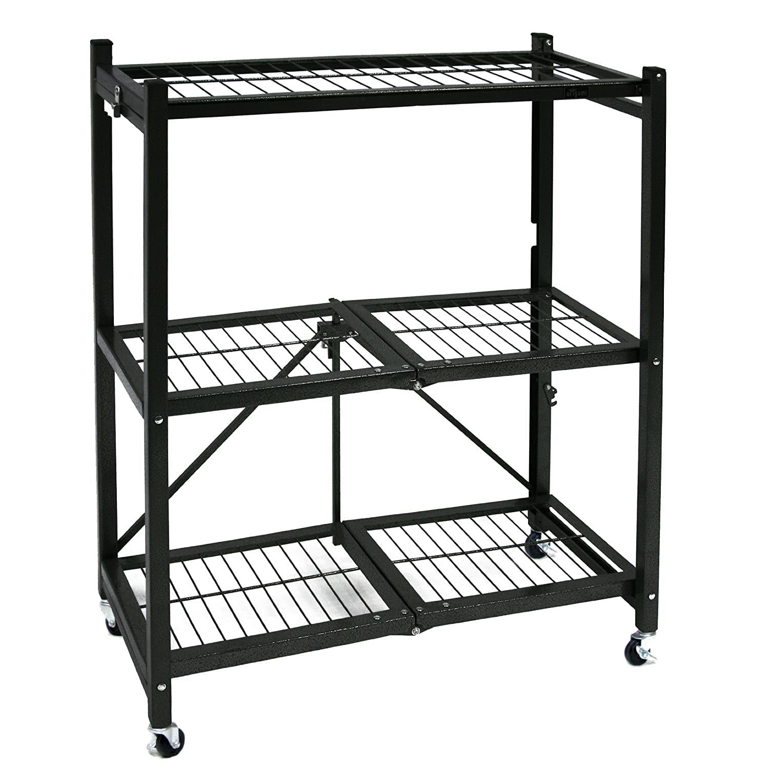 metal storage shelves. amazon.com: origami general purpose steel storage rack with wheels, 3-shelf, small: home improvement metal shelves