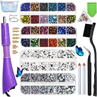 Hotfix Rhinestone More Choices 26 Colors 10160Pcs, DIY Applicator Flatback Wand Setter Tool Kit,Hot Fix Rhinestone…