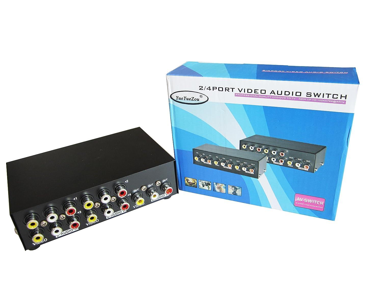 Amazon.com: YueYueZou® 4-Way AV Switch RCA Switcher 4 In 1 Out ...