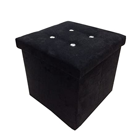 Surprising Foldable Faux Suede Diamante Sparkle Button Bling 38X38Cm Storage Box Ottoman Stool Black Bralicious Painted Fabric Chair Ideas Braliciousco