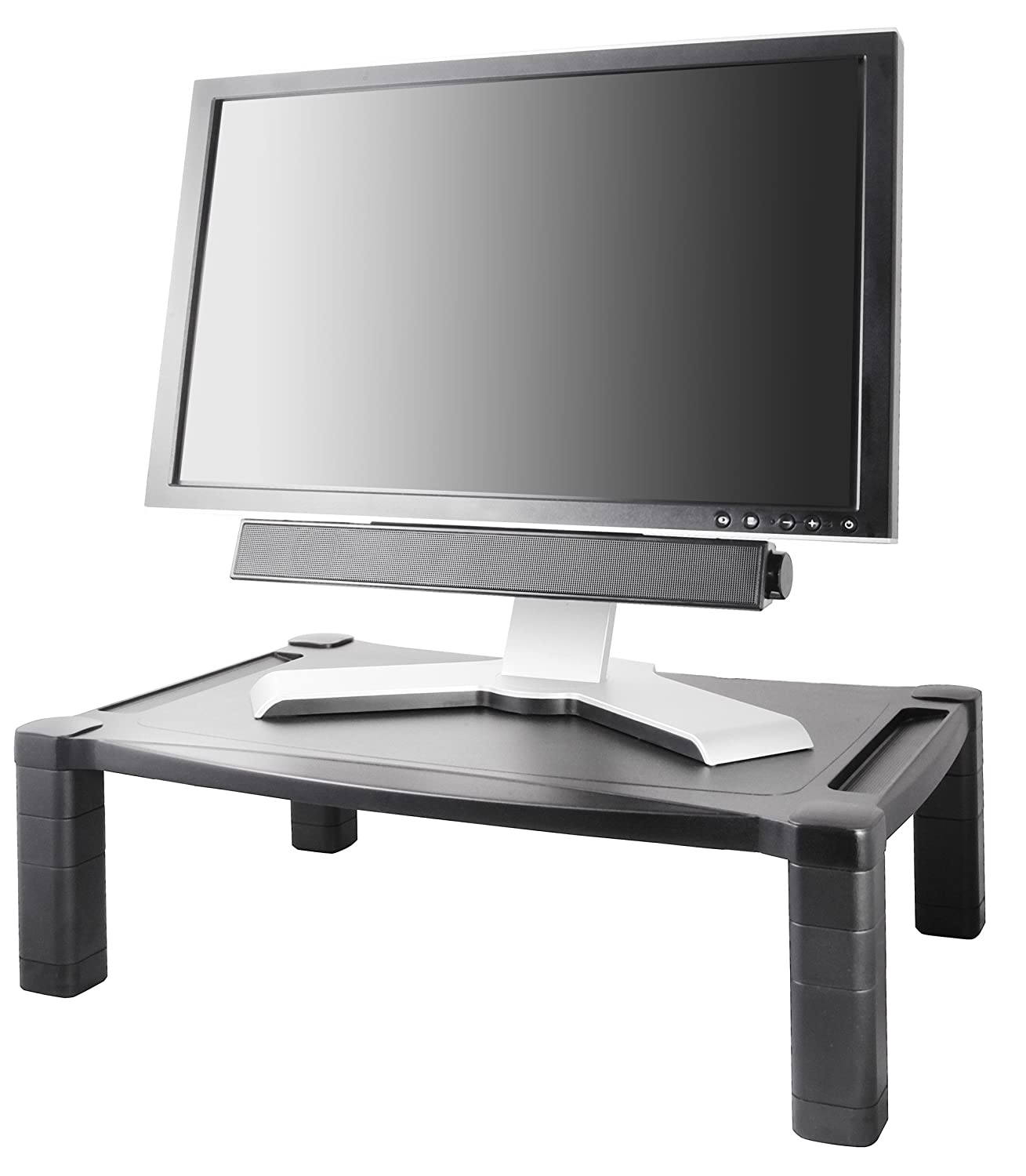 Height-Adjustable KTKMS500 Black 20 x 13 1//4 Kantek Wide Two-Level Stand