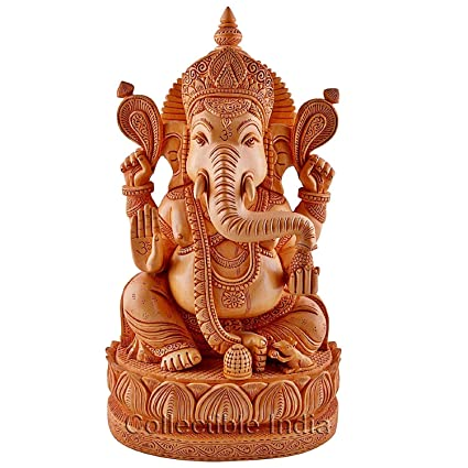 e02cc9b0ce Buy Collectible India Ganesh Ganesha Idol Statue- Wooden Hand Carved  Elephant Lord Ganesha Ganpati Temple Sculpture Online at Low Prices in India  - Amazon. ...