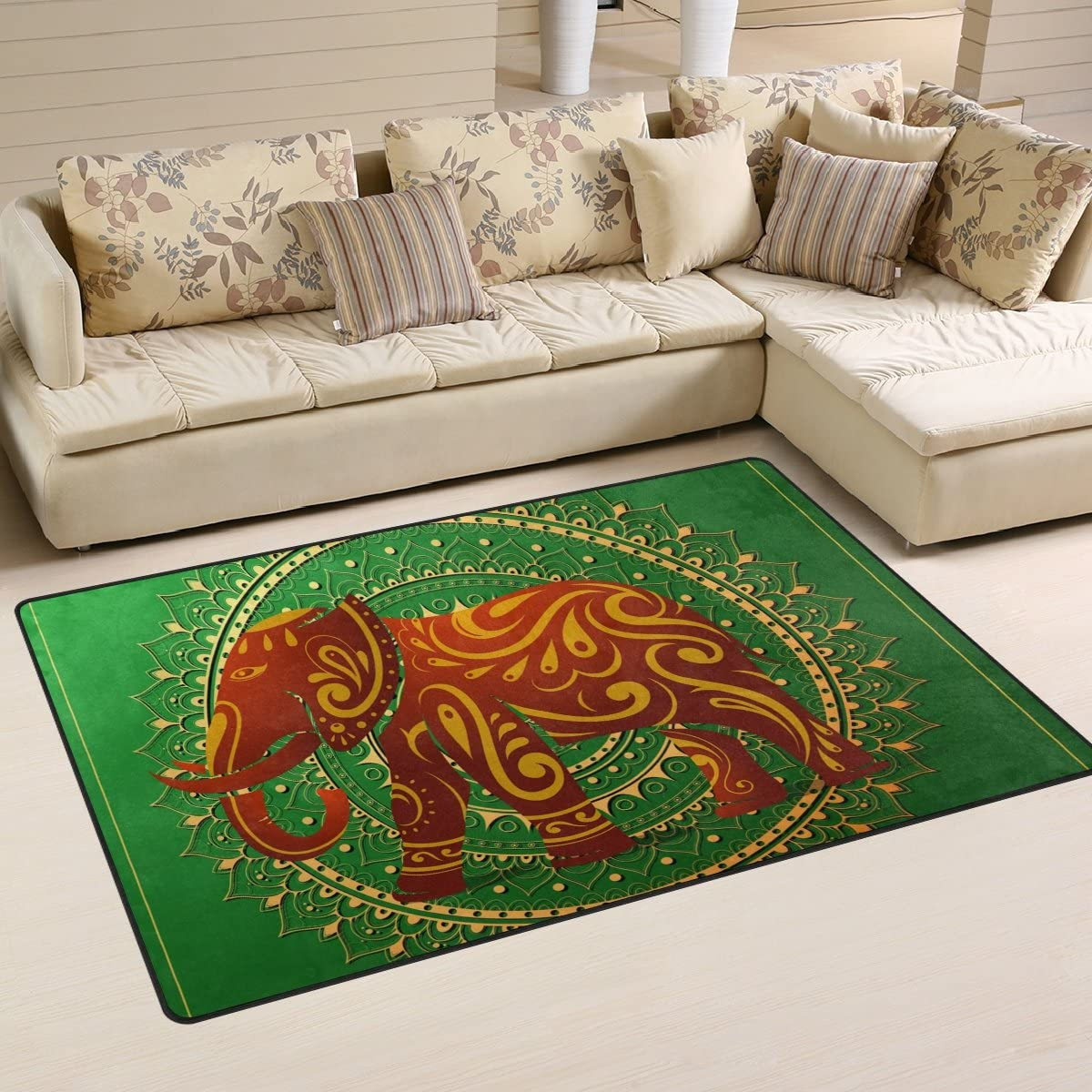 Sunlome Elephant with Orient Ornament Pattern Area Rug Rugs Non-Slip Indoor Outdoor Floor Mat Doormats for Home Decor 60 x 39 inches