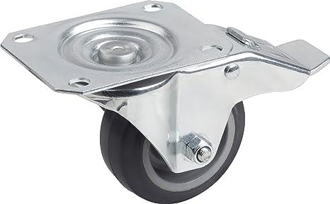 Lenkrolle 80 mm mit Feststeller Vollgummi Rolle Rad Bremse