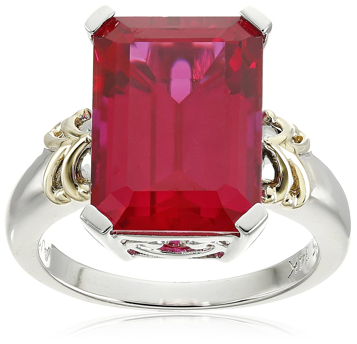 ruby sterling and jewelry ring jewellery emerald yellow created com cut dp amazon gold silver