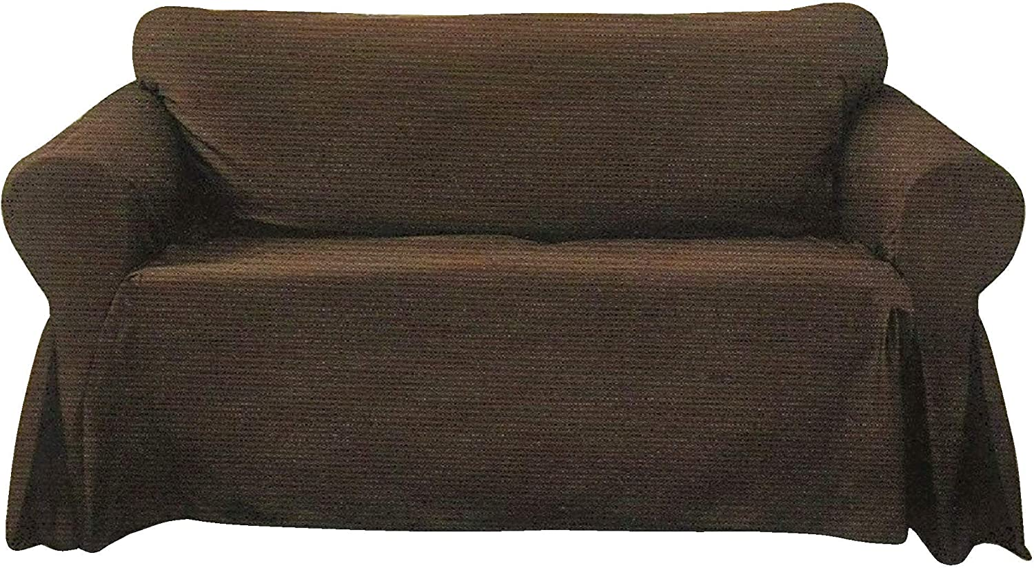 Decorative Sofa Slipcover, Textured Woven Design Couch Lounge (Brown, Large Sofa)