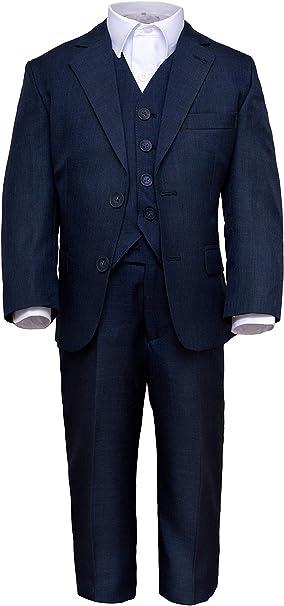 Märchenburg® 4 TLG. Traje festivo para niño, chaqueta, chaleco, pantalón y camisa en azul para comunión, confirmación, boda, fiesta azul 152 cm: Amazon.es: Ropa y accesorios