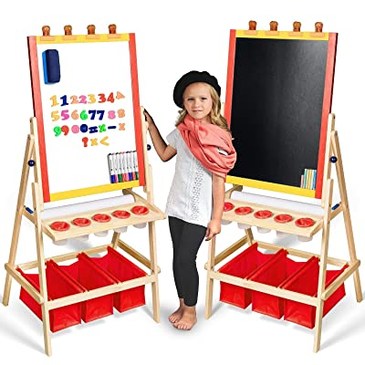 Kids Easel with Paper Roll +FREE Kids Art Supplies - Double Sided Childrens Easel Chalkboard / Magnetic Dry Erase Board - Toddler Easel with Storage Bins Wooden Art Easel for Kids Painting and Drawing: Toys & Games