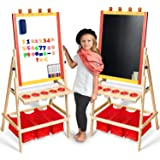 Kids Easel Paper Roll +Free Kids Art Supplies - Double Sided Childrens Easel Chalkboard/Magnetic Dry Erase Board - Toddler Easel Storage Bins Wooden Art Easel Kids Painting Drawing
