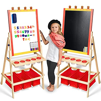 Kids Easel With Paper Roll Free Kids Art Supplies Double Sided Childrens Easel Chalkboard Magnetic Dry Erase Board Toddler Easel With Storage