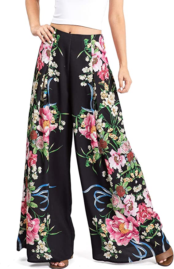 Womens High Waist Wide Leg Loose Fit Trousers Pants Tropical Flower Summer Print