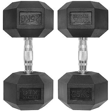 DTX Fitness 2 x 25 kg Mancuernas hexagonales de Caucho Pesas ...