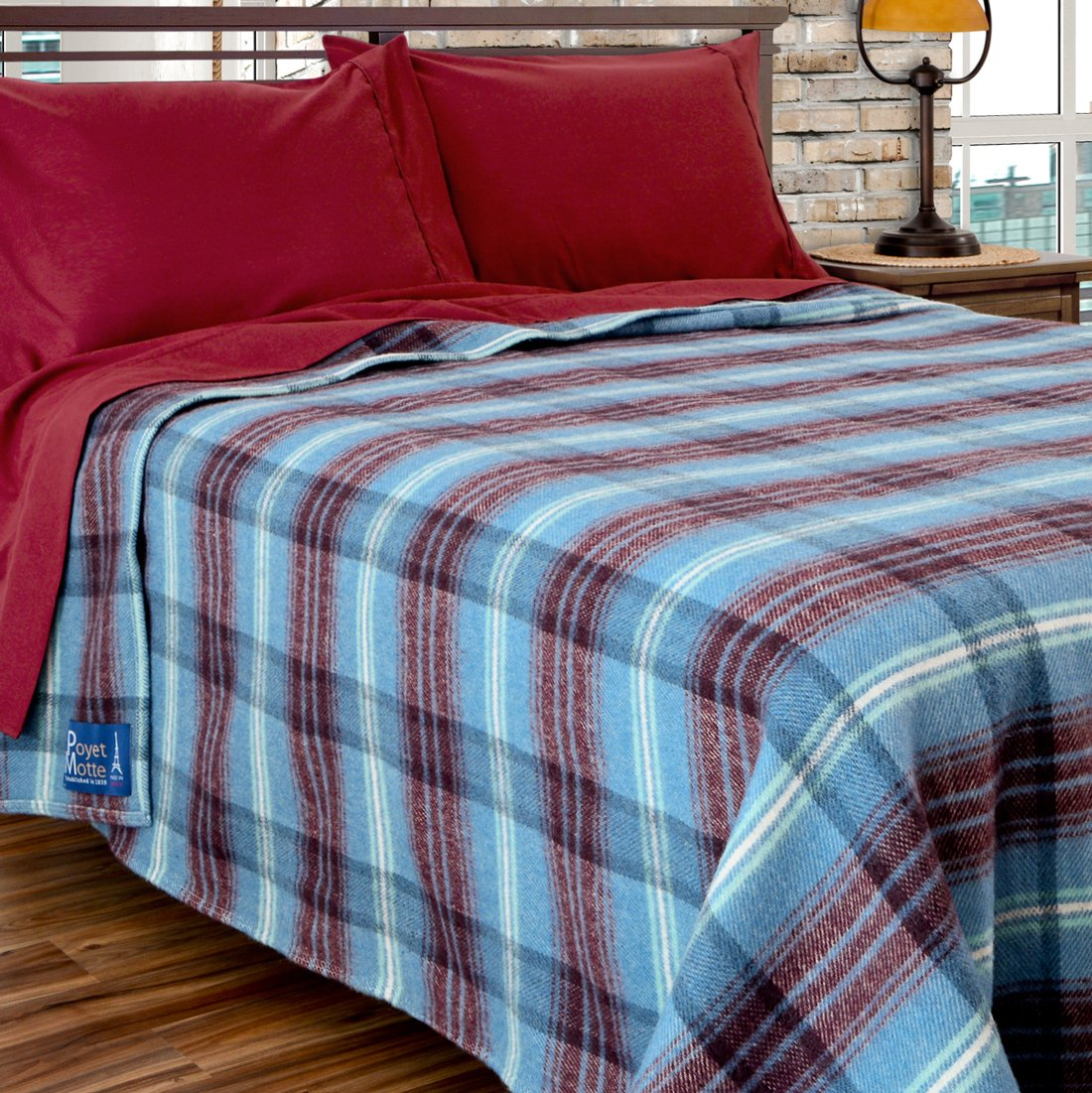 Poyet Motte Chevreuse Heavyweight Wool Blend Oversized Blanket, Machine Washable (Berry Plaid, Full/Queen Size) by Poyet Motte Made In France