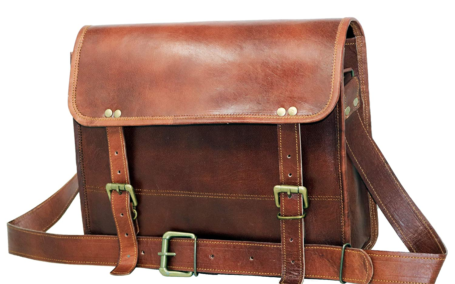 jaald Genuine Leather Messenger Bag Laptop Briefcase Satchel Mens Shoulder Bag 13Simple