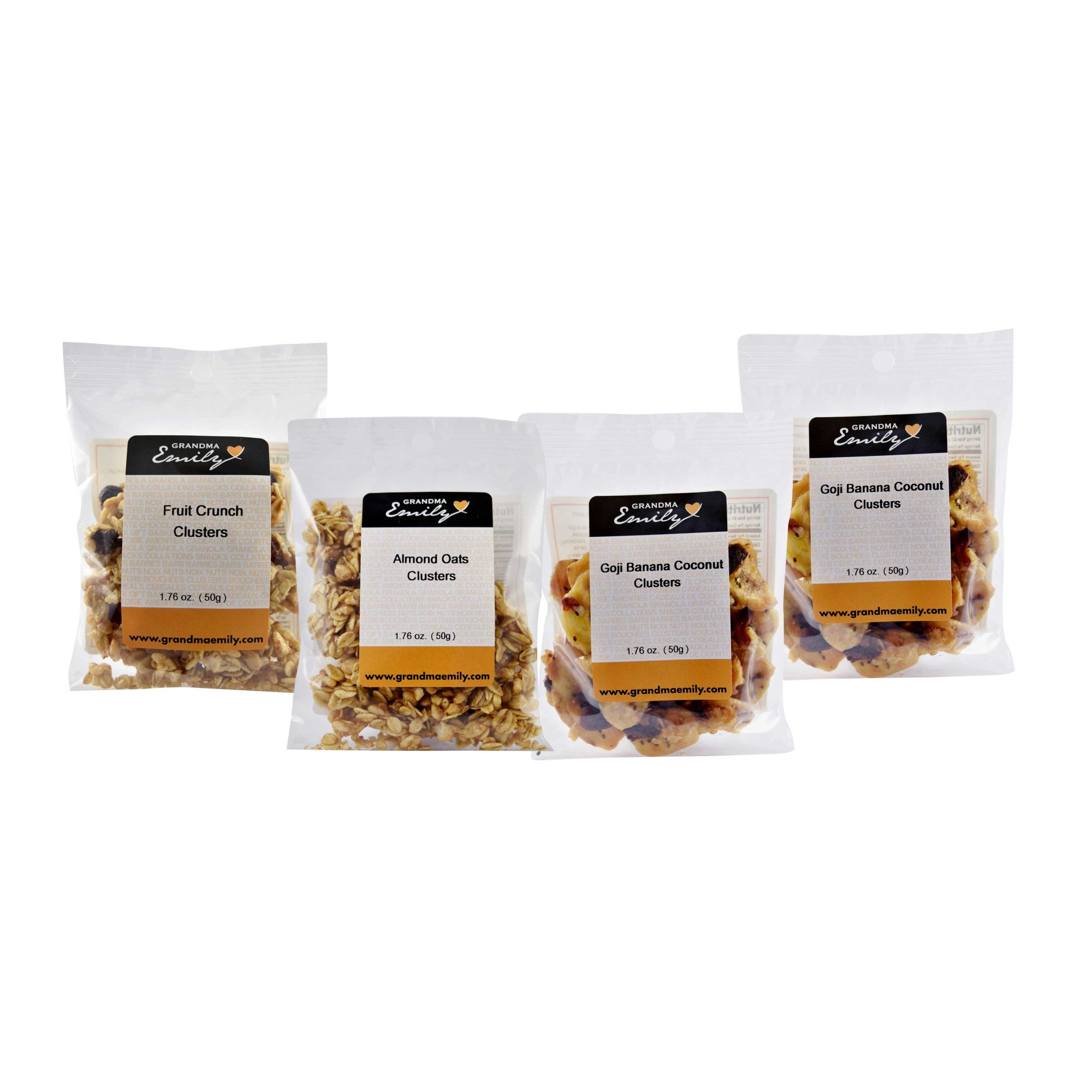 Grandma Emily Granola Clusters, (Made in CANADA), 12 Individually Packed Assorted Flavours 1.76 oz. (50g.) Delicious Healthy Snacks Packed With Crunchy Goodness. 100% Canadian Oats