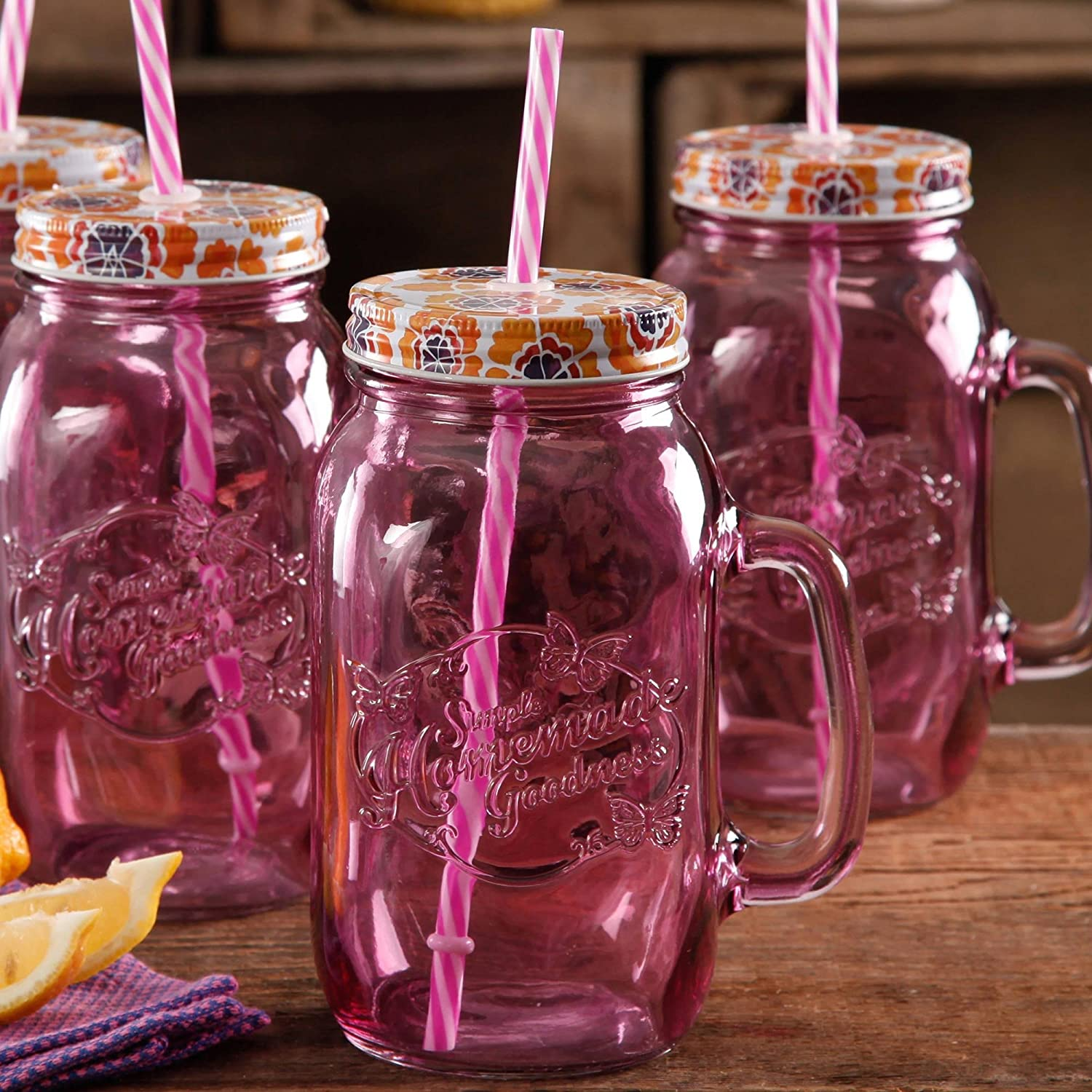 amazoncom the pioneer woman simple homemade goodness 32ounce mason jars with handle lid and straw set of 4 plum kitchen u0026 dining - Mason Jar Drinking Glasses