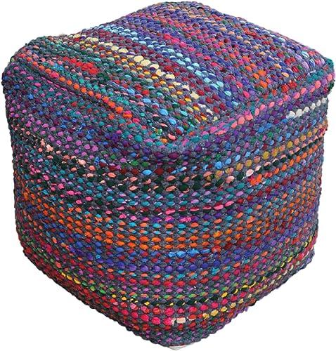 Marcela Hand Woven Fabric Pouf Indigo
