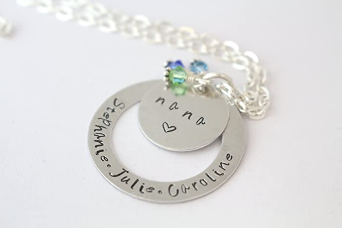 Amazon birthstone nana personalized necklace handstamped birthstone nana personalized necklace handstamped gift for grandma aloadofball Images