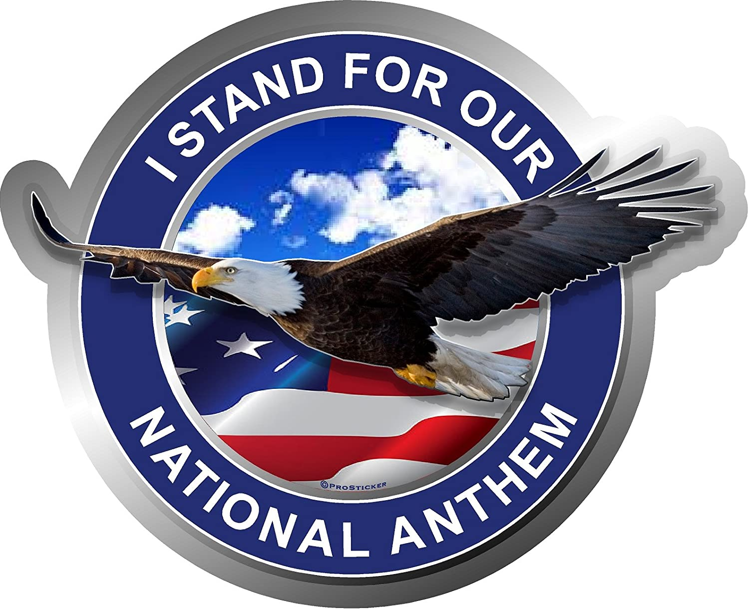 """ProSticker 231V (One) Patriot Series I Stand for Our National Anthem Eagle Decal Sticker (4"""" x 5"""")"""