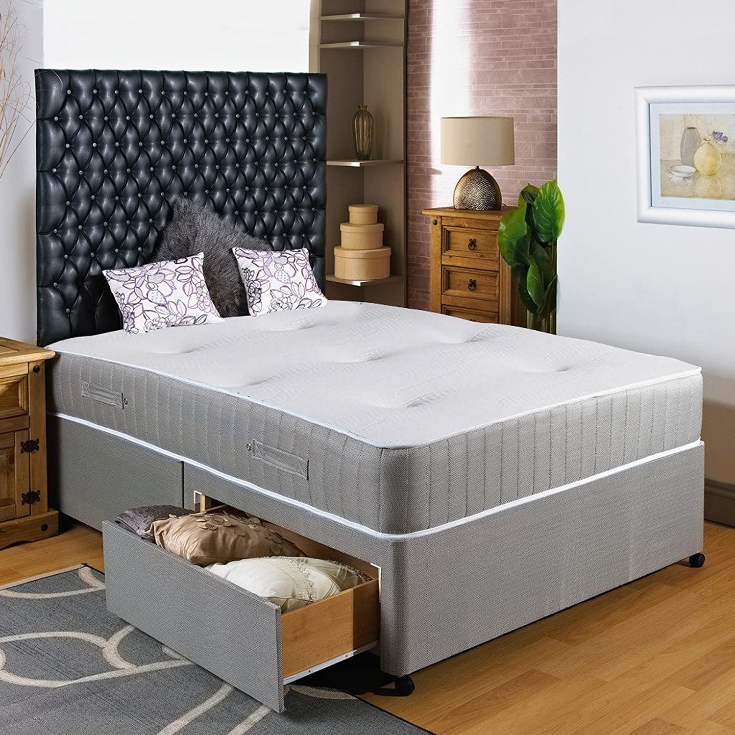 Hf4You 3Ft6 Large Single Divan Bed - 2 Drawers - Same Side - No Headboard