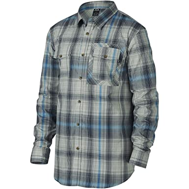 Oakley Mens O-Plaid Woven Button Up Long-Sleeve Shirt at Amazon ...