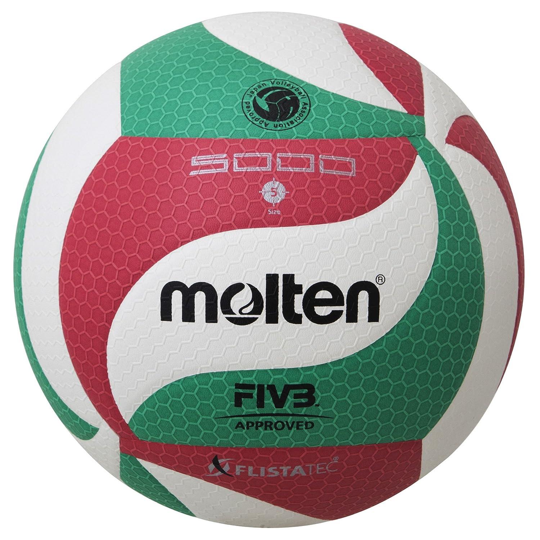 Molten VM5000 - Balón de Voleibol, Blanco, Rojo y verde, Talla 5 V5M5000