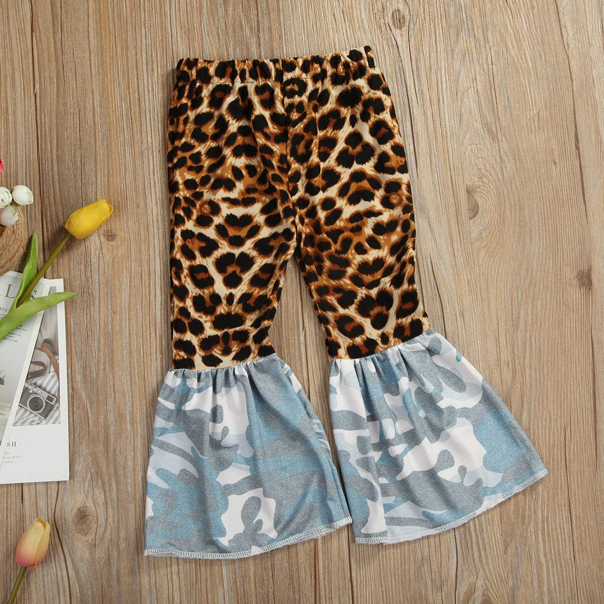 TSEXIEFOOFU Baby Girls Leopard Print Bell Bottoms Flare Pants Denim Jeans Ruffle Leggings