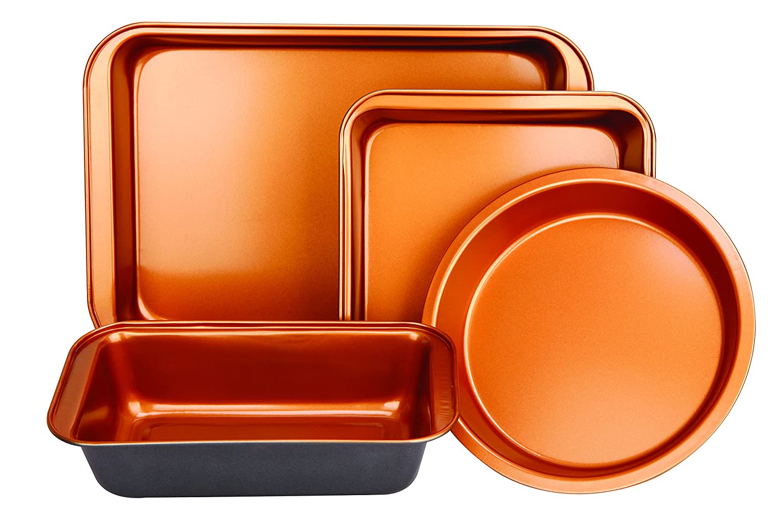 Copper Bakeware Set - Includes an Oblong Rectangular Pan, Brownie Pan, Round Cake Pan, and Meat Loaf Pan, Standard 02722