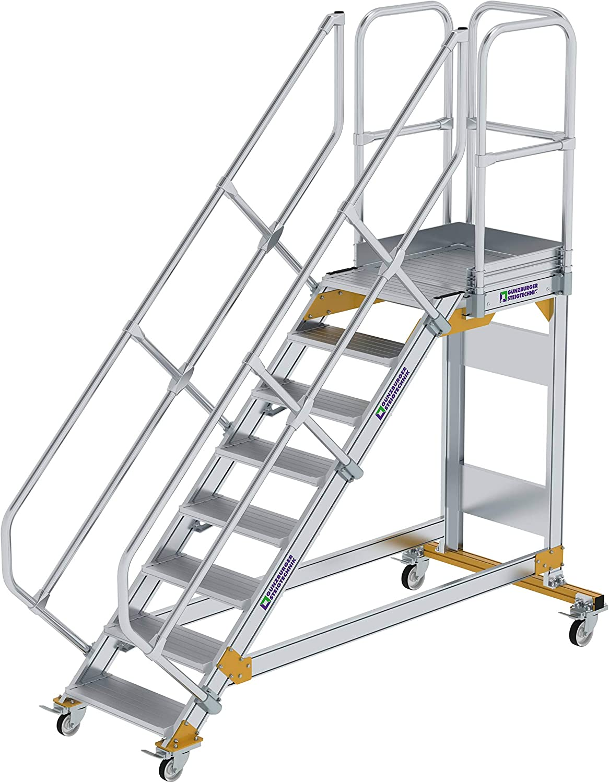 GÜNZBURGER STEIGTECHNIK Escalera de plataforma de aluminio, móvil, 45°, 600x8: Amazon.es: Bricolaje y herramientas