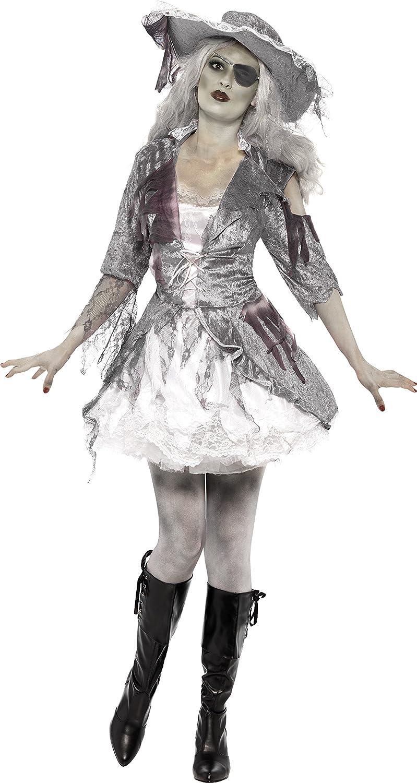Smiffy's-24362S Halloween Fantasma Miffy Disfraz de Tesoro Pirata de Ghost Ship, con Vestido y Sombrero, Color Gris, S-EU Tamaño 36-38 (24362S)