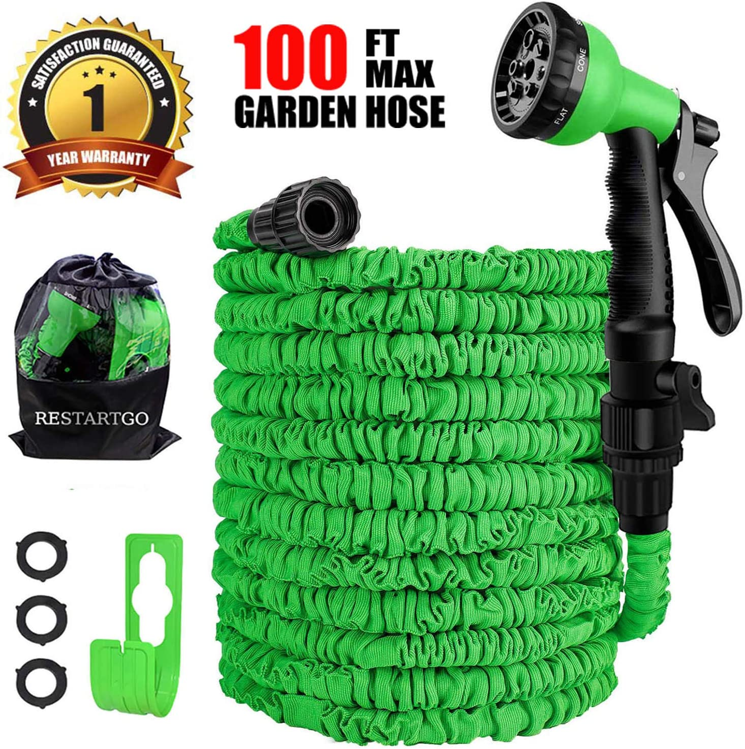 Restartgo 100FT Garden Hose Reel Expandable 3 Times TPE Super-Strength High Pressure Flexible Water Hose,8-Function High-Pressure Spray Nozzle with 3//4 Solid Fittings Comes with Free Hose Holder