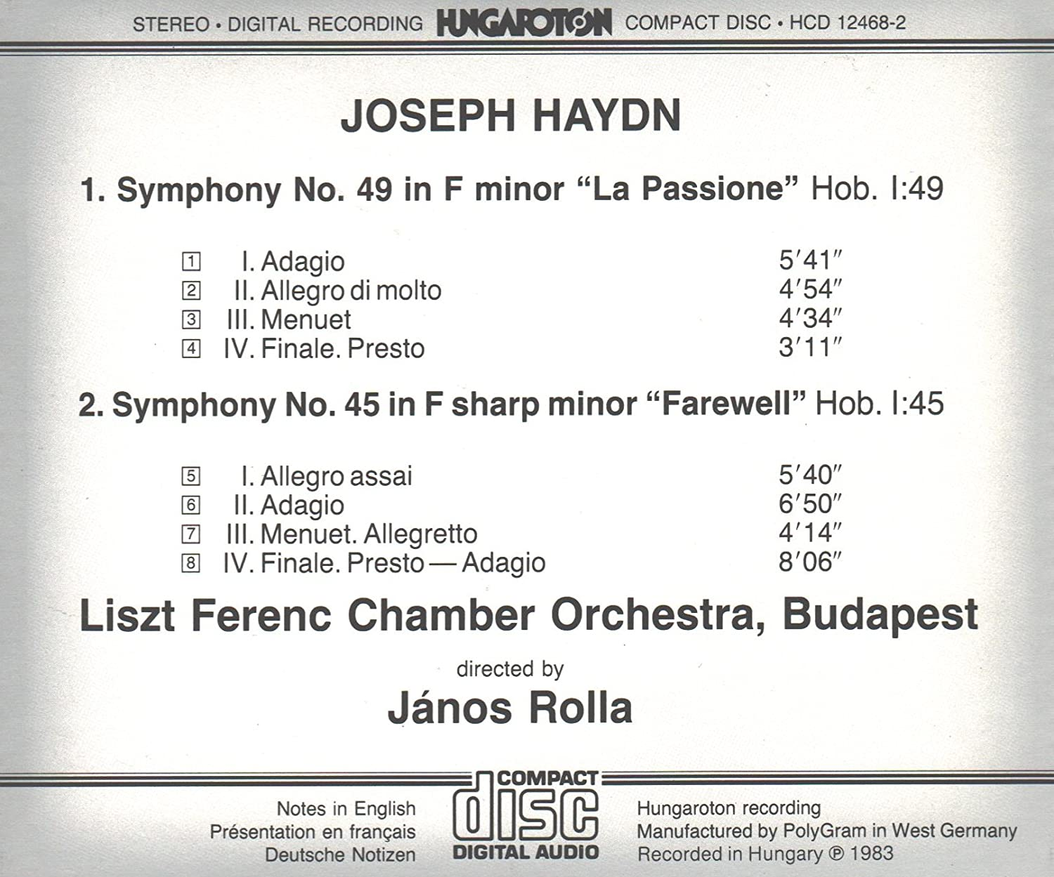 Symphony No. 45 in F-sharp Minor  (Farewell)  movt. 2 (score) - Hob1/45