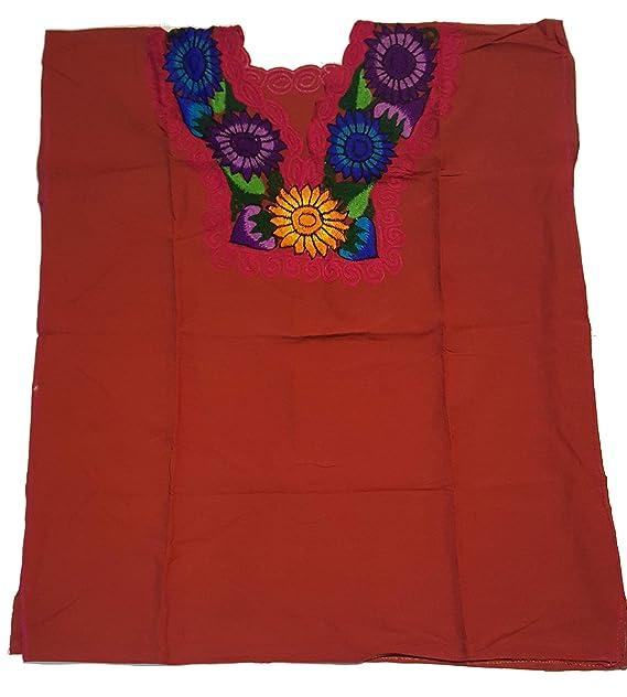 Amazon.com: Ambar Chanty - Blusa bordada de flores mexicanas ...