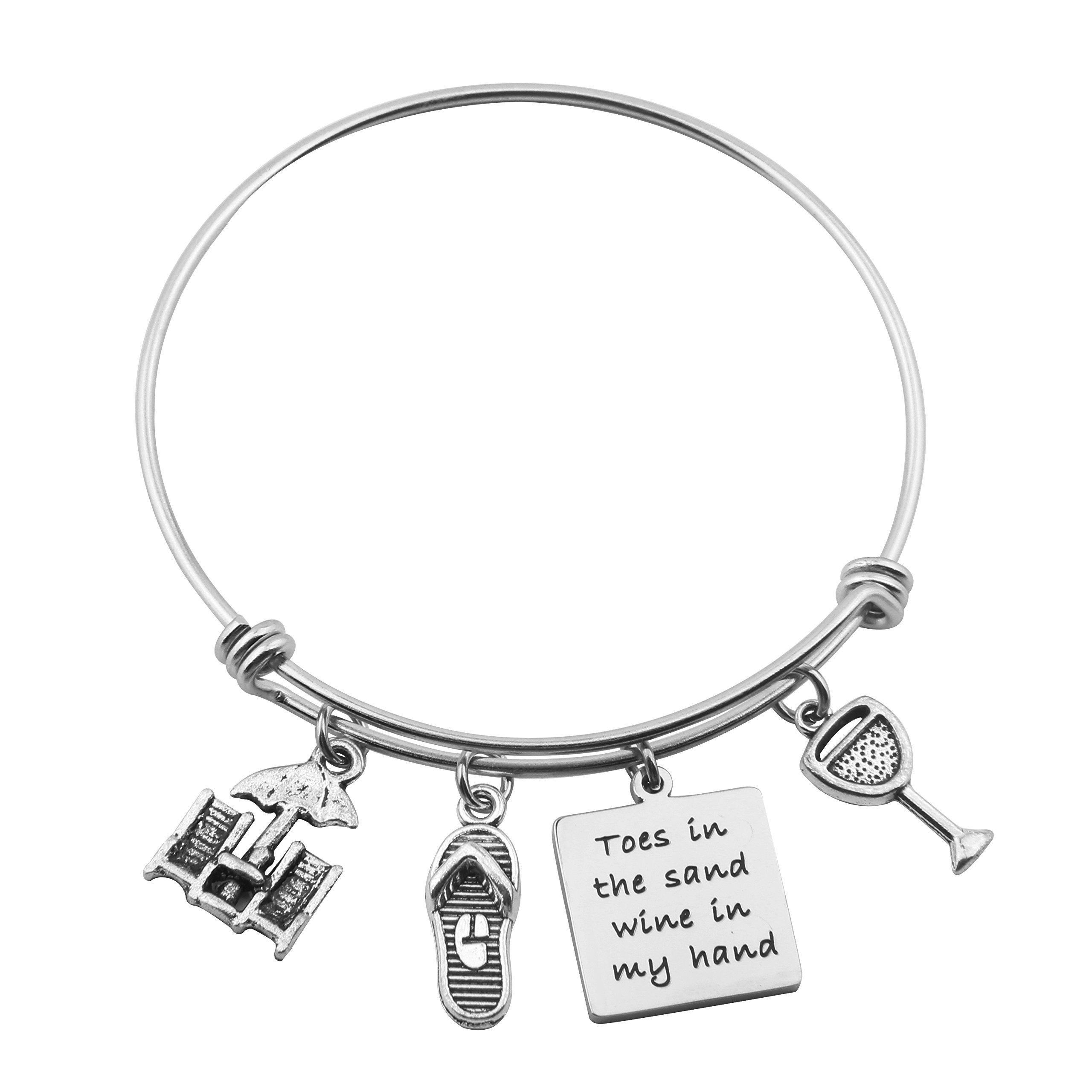 SEIRAA Toes in the Sand Wine in My Hand Stainless Steel Expandable Bangle Wine Lovers Beach Bangle Bracelet (charm bracelet)