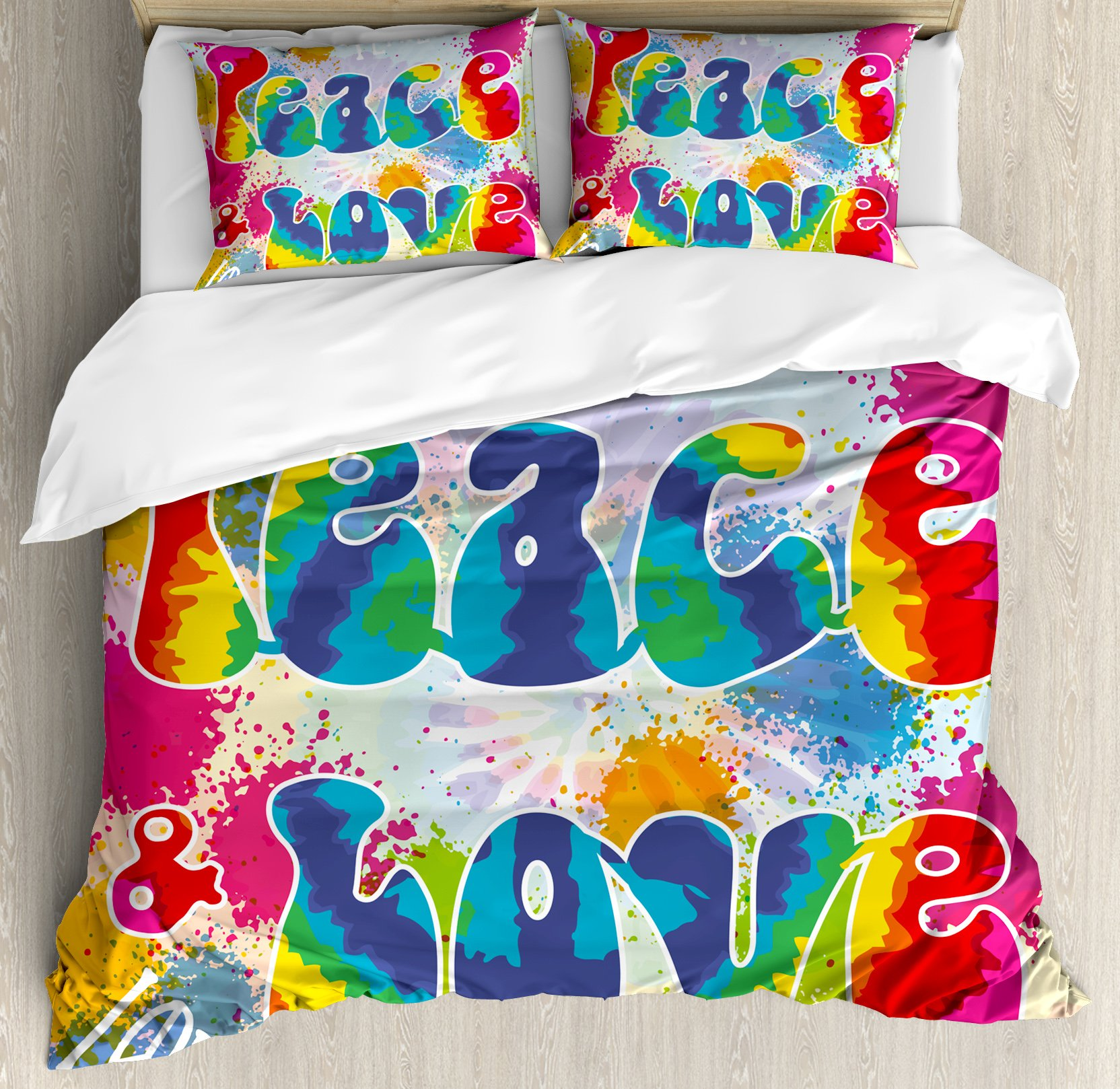 70s Party Decorations Duvet Cover Set King Size by Ambesonne, Peace and Love Tie Dye Funky Color Splashes Rainbow Abstract Artistic, Decorative 3 Piece Bedding Set with 2 Pillow Shams, Multicolor