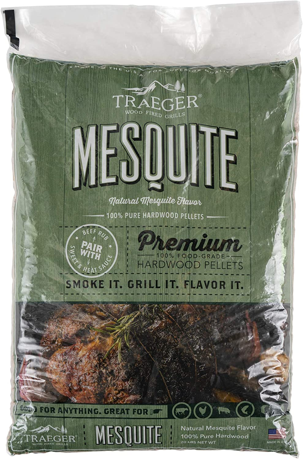 Traeger Grills PEL305 Mesquite 100% All-Natural Hardwood Pellets Grill, Smoke, Bake, Roast, Braise and BBQ, 20 lb. Bag : Outdoor Grilling Pellets : Garden & Outdoor