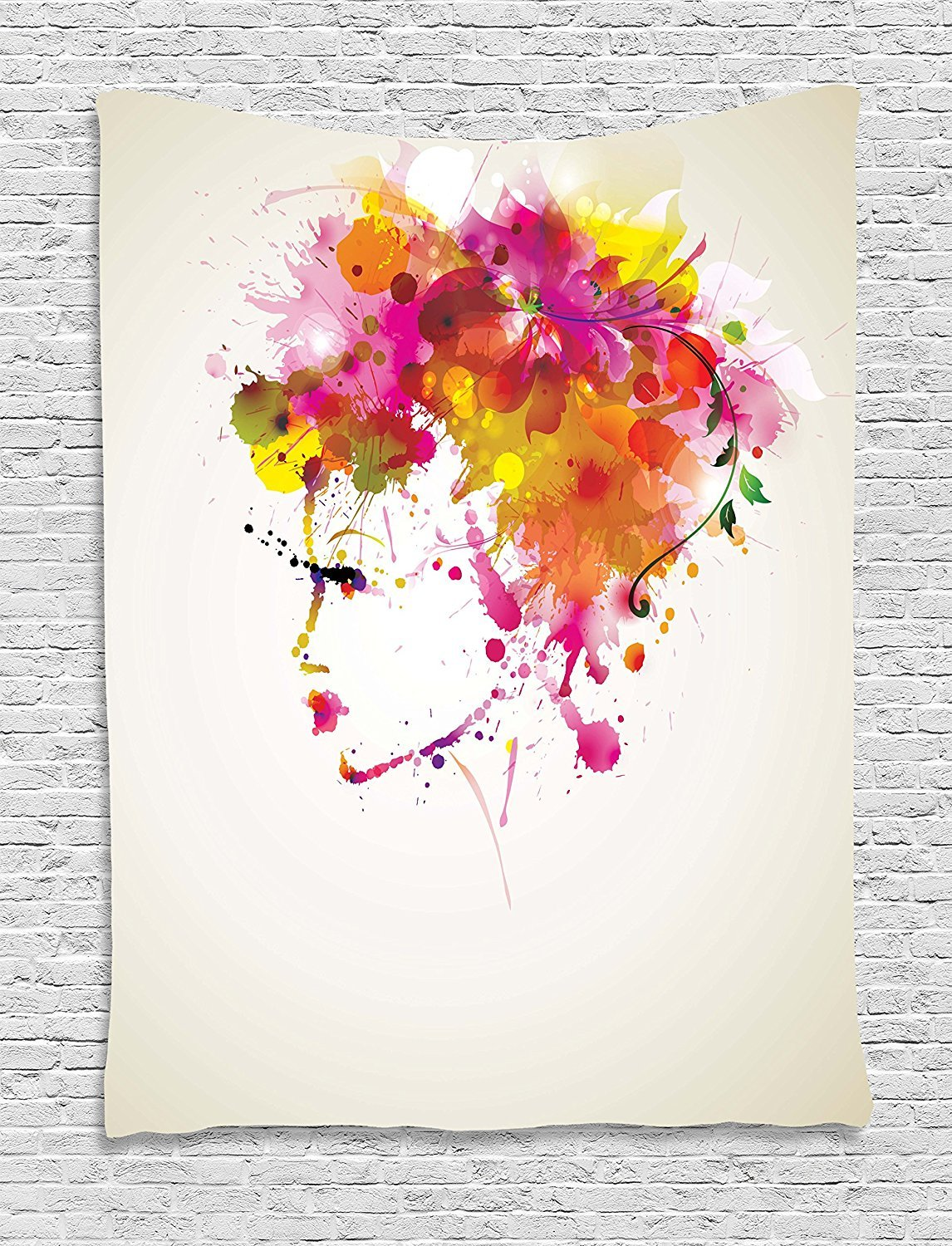 asddcdfdd Abstract Tapestry, Watercolor Portrait of a Woman with Artsy Floral Hairstyle Paint Splatters, Wall Hanging for Bedroom Living Room Dorm, 60 W X 80 L Inches, Orange Pink Green