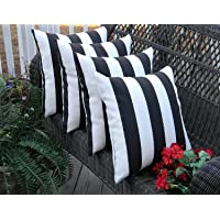 """Resort Spa Home Decor Set of 4 Indoor/Outdoor Square Decorative Throw/Toss Pillows Black and White Stripe Fabric Choose Size (17"""" x 17"""")"""